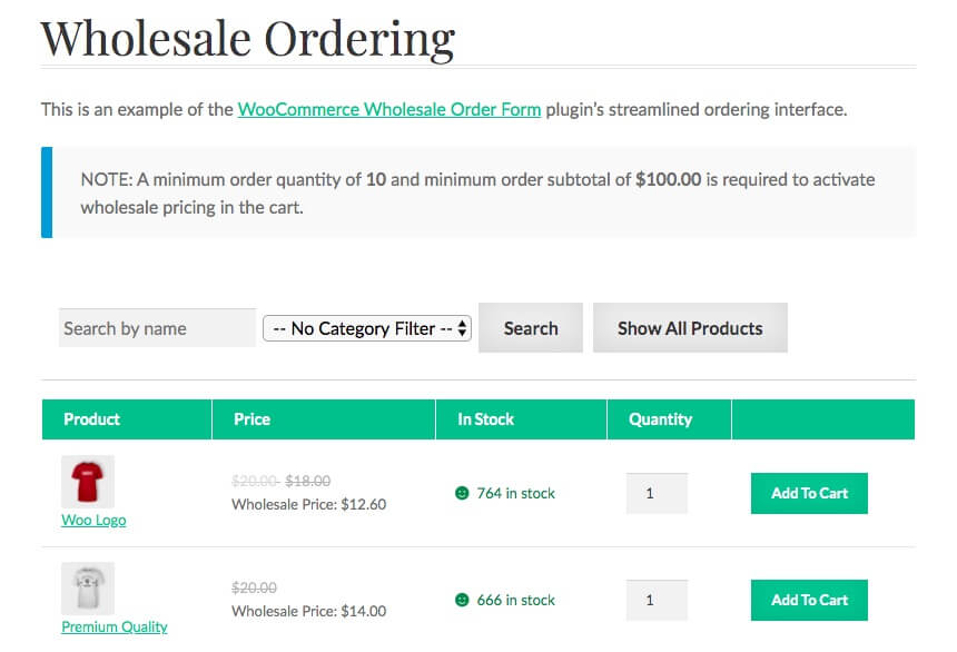 A WooCommerce wholesale order form.
