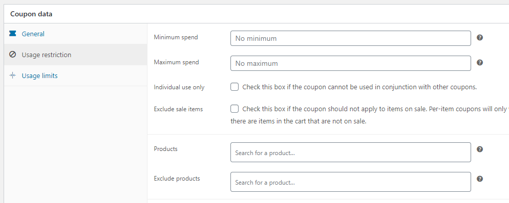 Configuring coupon usage restrictions
