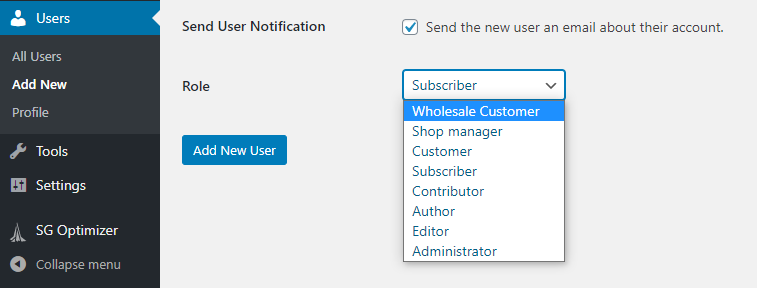 The wholesale customer user role
