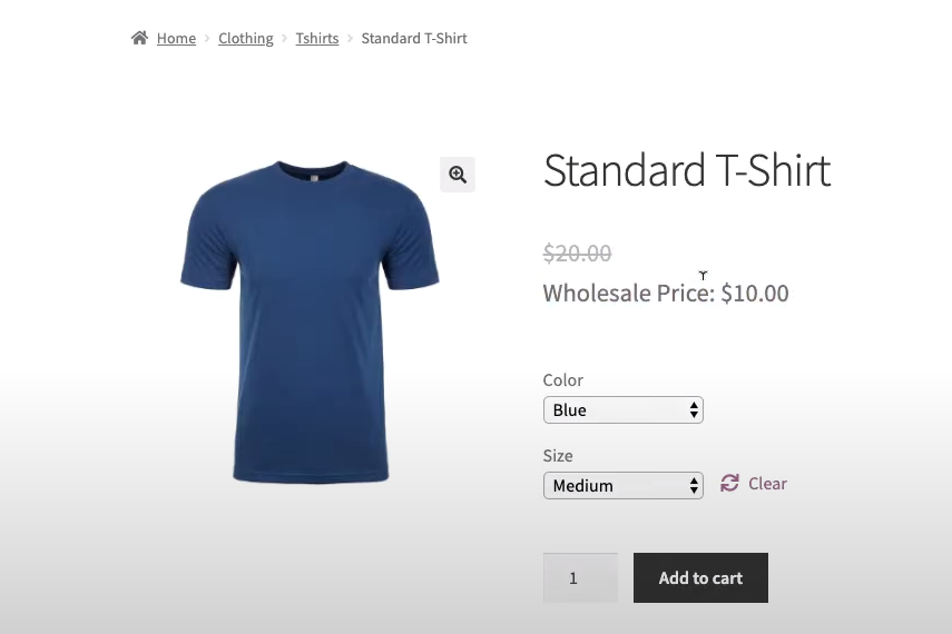 An example of a variable product in WooCommerce.