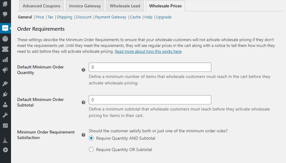 WooCommerce minimum order amount.