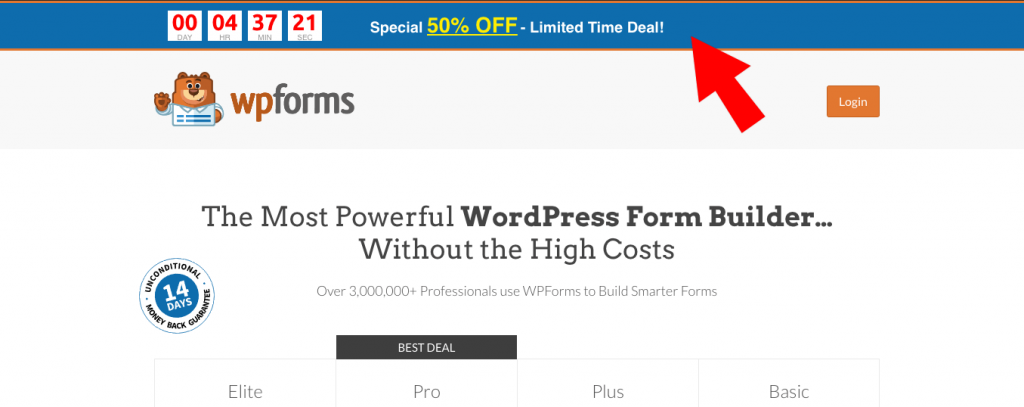 Limited offer with a countdown timer provided by OptinMonster