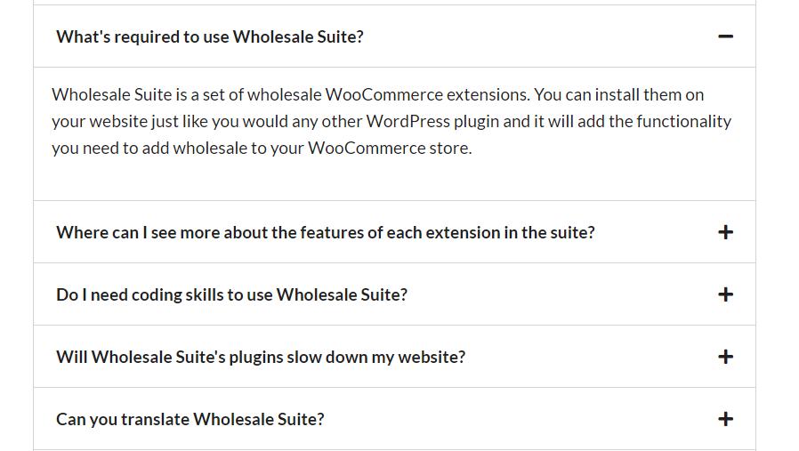 Wholesale Suite's FAQ section