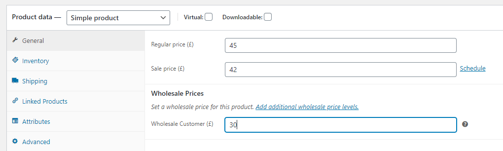 Setting custom prices for Wholesale customers
