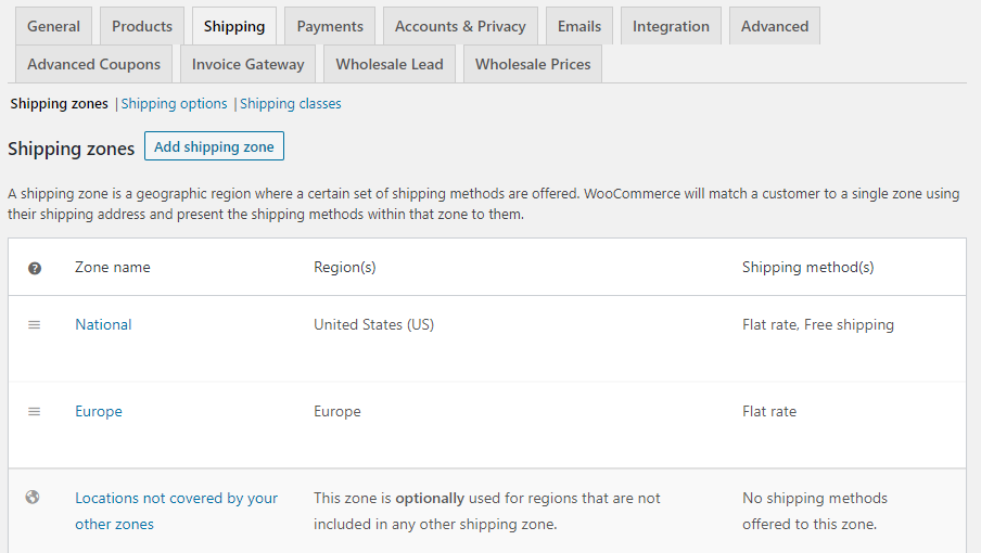 Your WooCommerce shipping zones