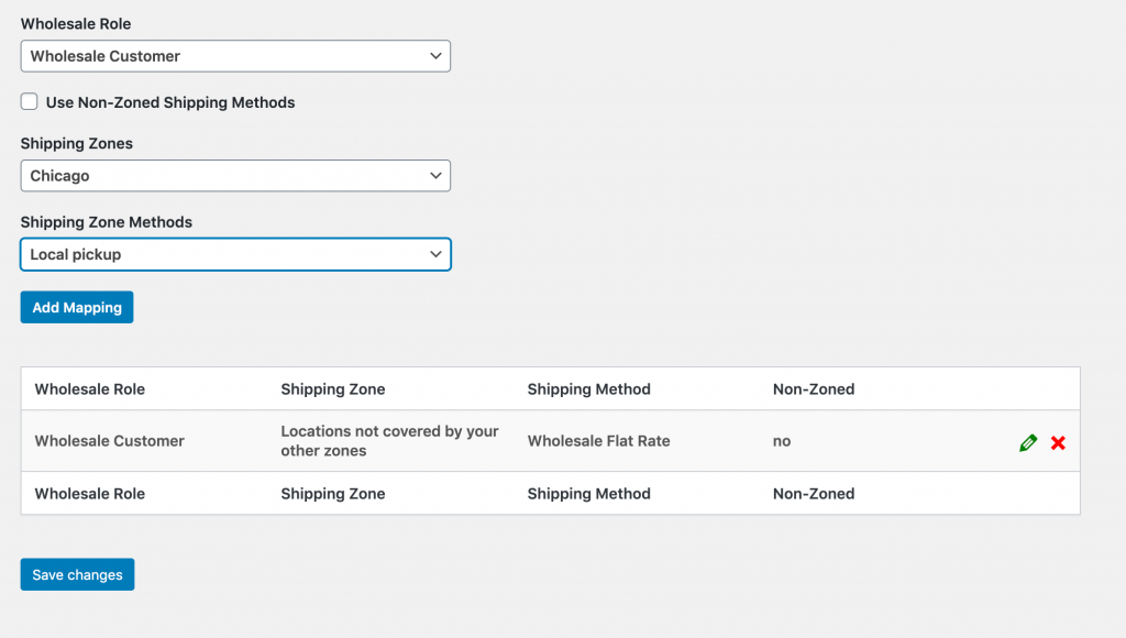 Wholesale shipping method mapping.