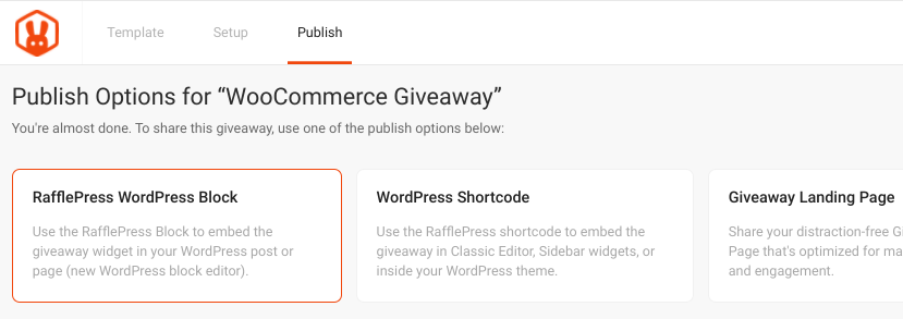 The RafflePress giveaway publish options.