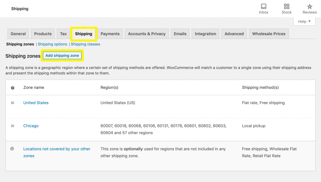 The WooCommerce Shipping settings.