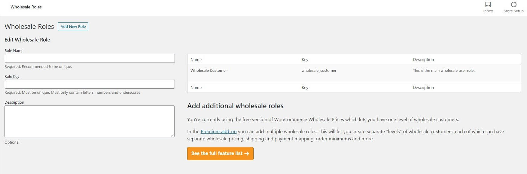 A screenshot of the Wholesale Suite plugin's Wholesale Roles option screen.