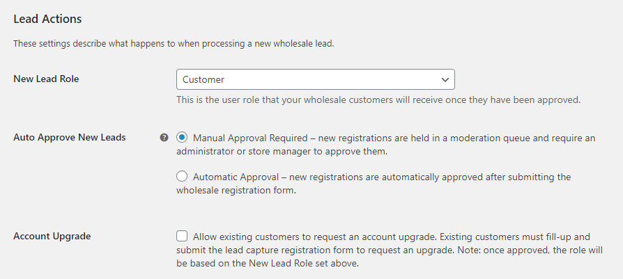 Configuring lead approval settings