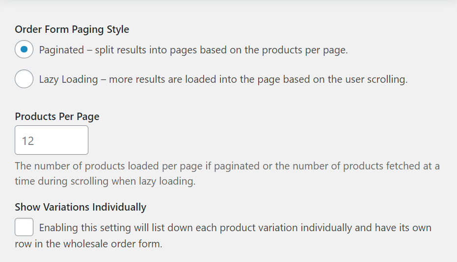 Selecting what type of order form paging styles to use