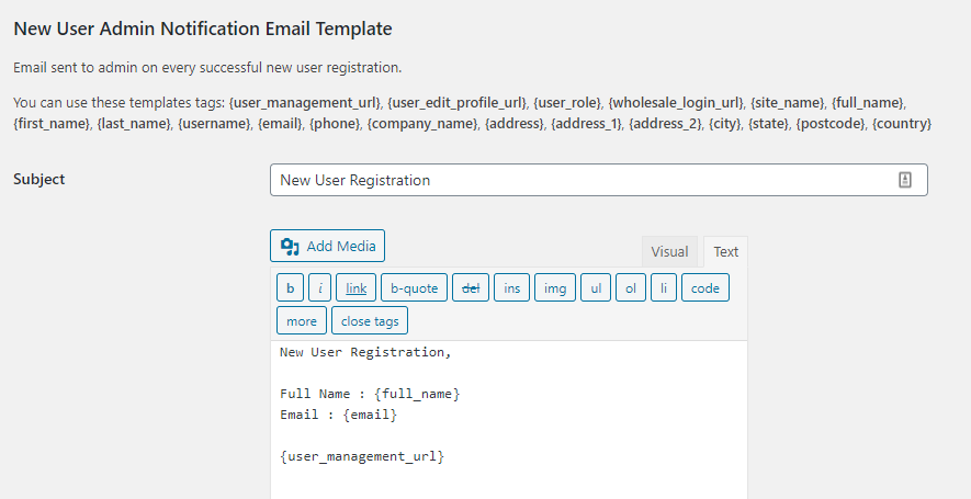 New wholesale user notification template
