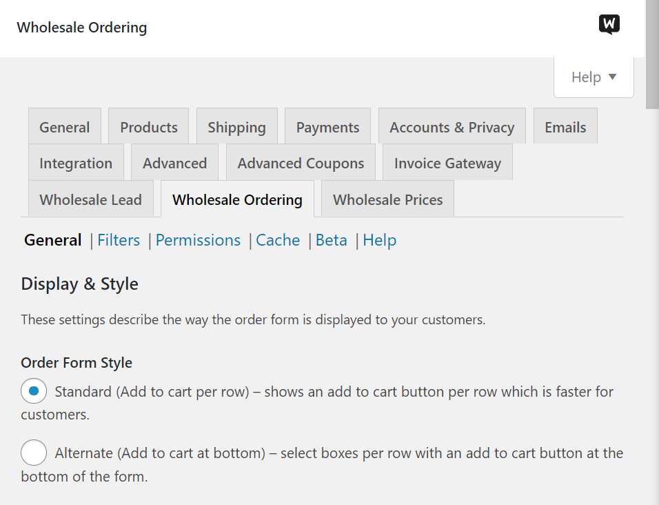 Configuring your wholesale ordering settings
