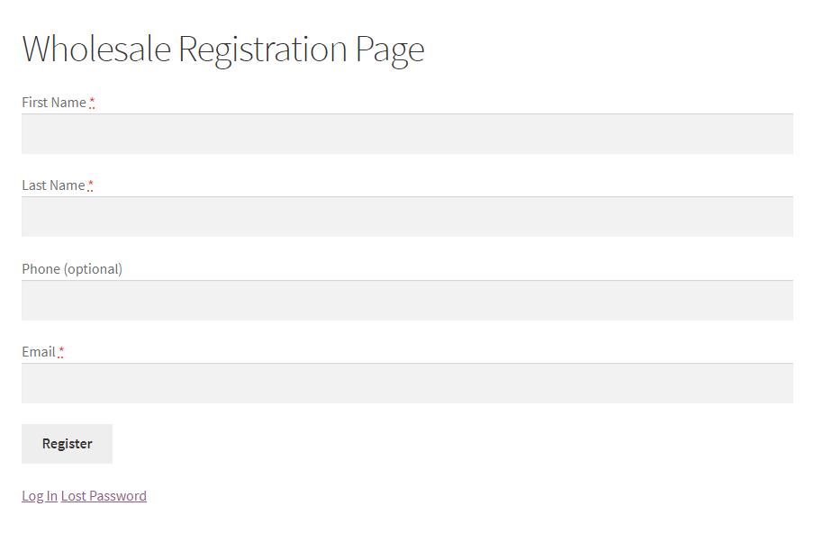 Wholesale lead application form