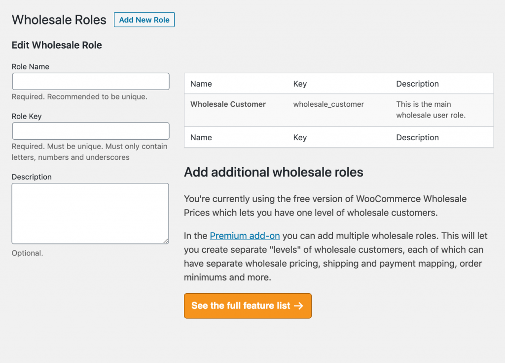 The Wholesale Customer user role.