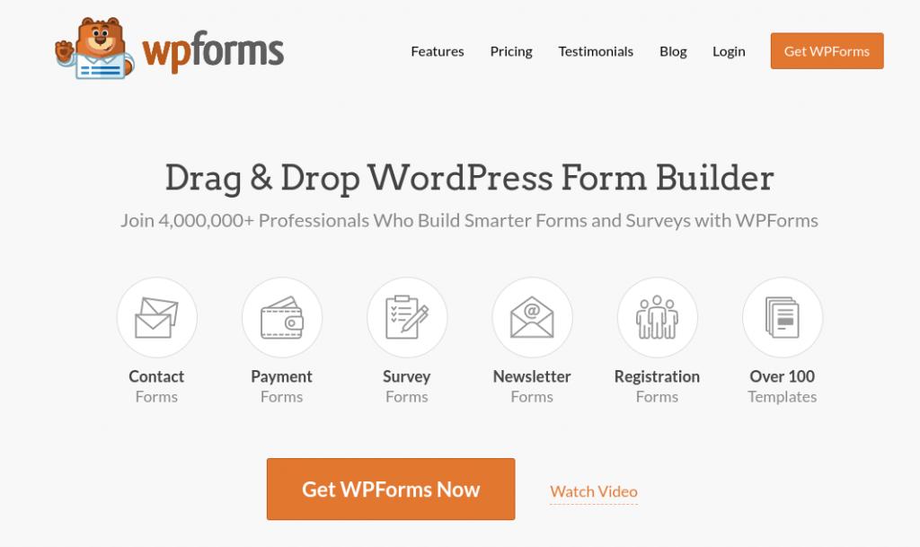The WPForms WordPress form builder plugin website.