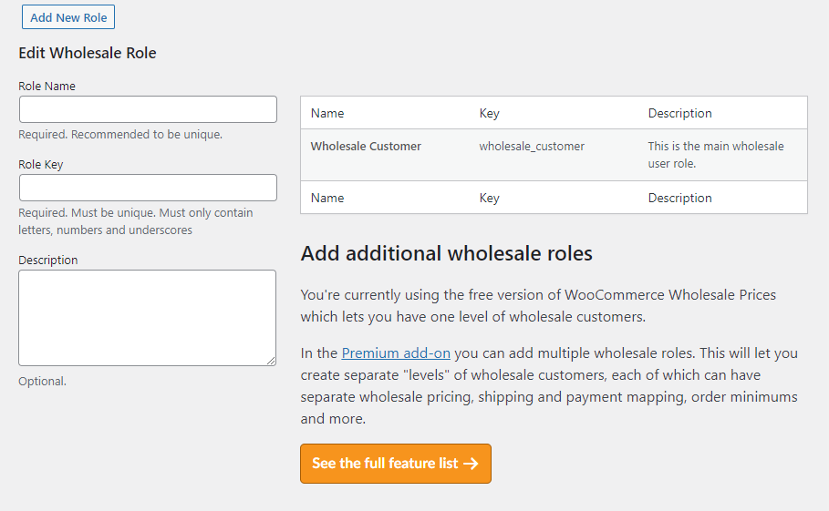 Setting up a wholesale customer user role