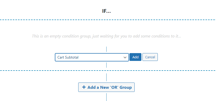 Setting a cart subtotal condition for your coupon
