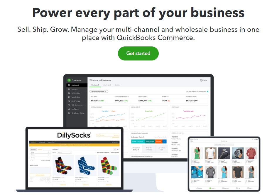 The QuickBooks Commerce homepage