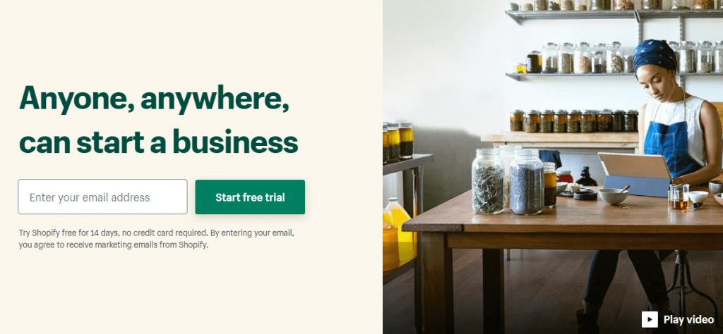 The Shopify homepage