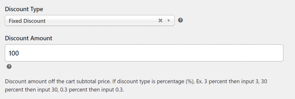 Configuring what type of discount to offer