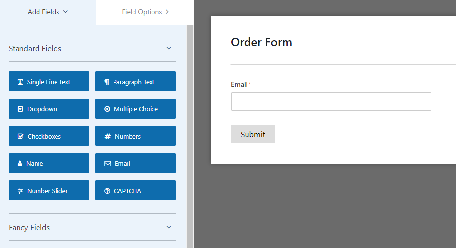 Using a drag and drop form builder