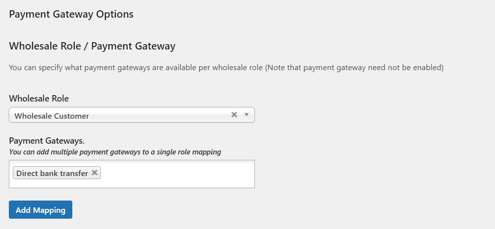 Mapping wholesale payment methods