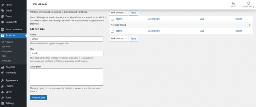 The screen to add a new product attribute value in WooCommerce.