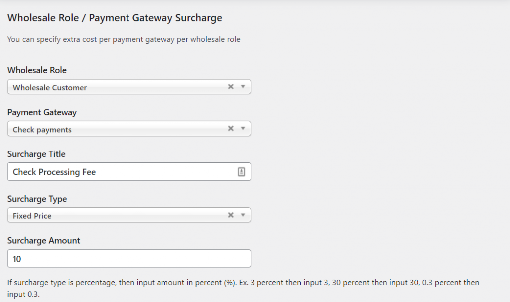 Configuring surcharges for payments