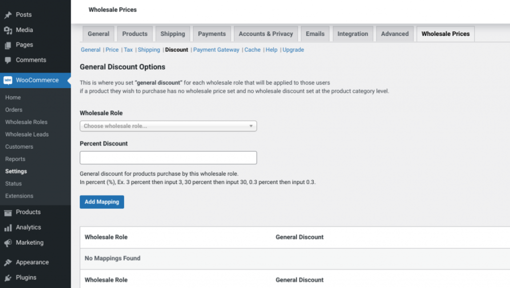 The Wholesale Suite plugin screen for adding Wholesale pricing percentage discounts.