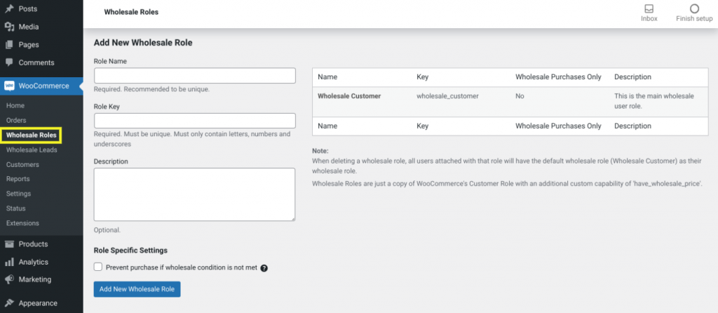 The Wholesale Roles screen in the Wholesale Prices plugin.