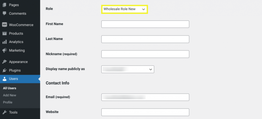 Assigning a WordPress user to a wholesale customer role.