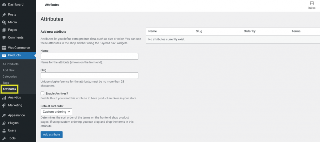 The product attributes screen in WooCommerce.