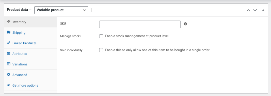 The product data section in WooCommerce.