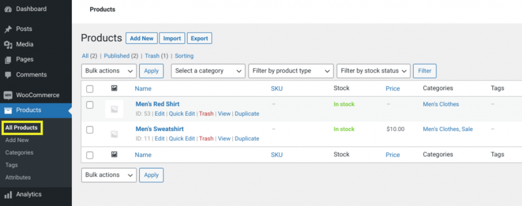 The products page in WooCommerce.