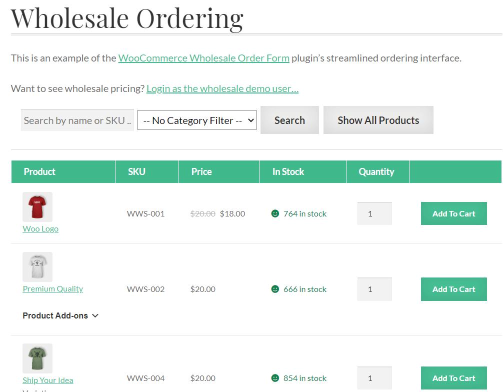 Online wholesale price list example